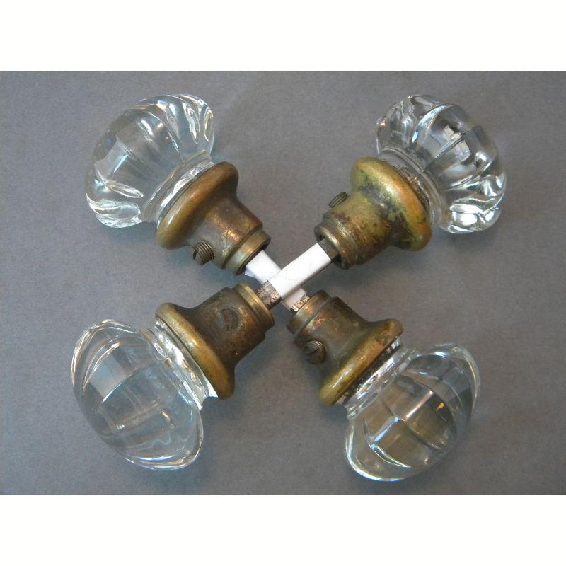 antique glass fluted door knob pairs - Antique Glass Door Knobs