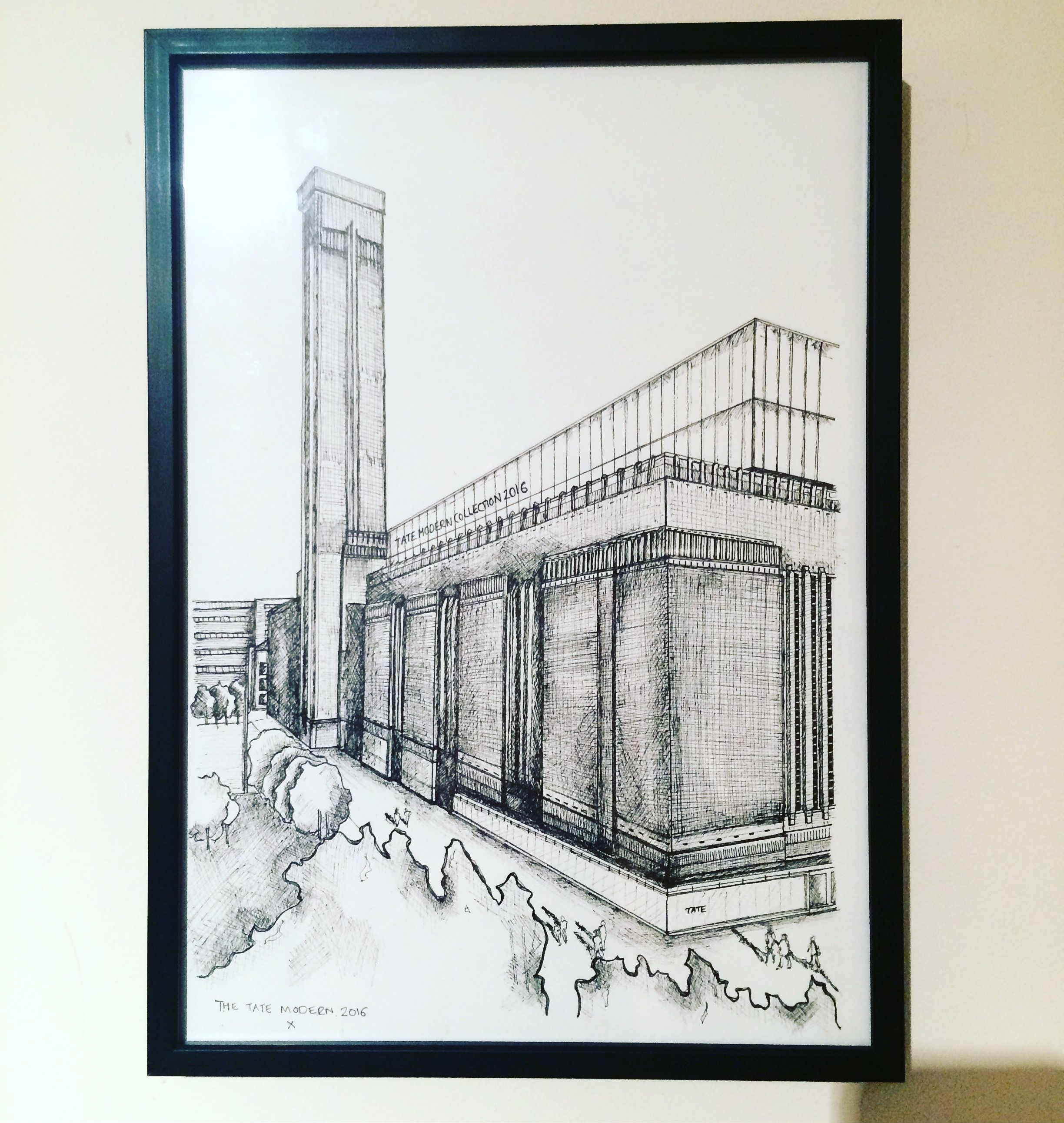 Pen drawing of Tate Modern, London 2016