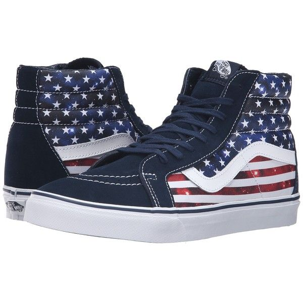 2caecab04d Vans SK8-Hi Reissue ((Americana) Dress Blues True White) Skate Shoes ( 70)  ❤ liked on Polyvore featuring shoes