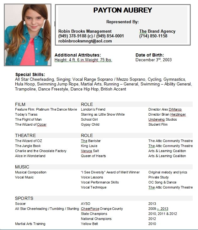 acting resume example unique child samples sample no experience kid
