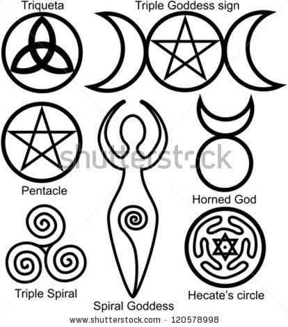 Set Of The Wiccan Symbols Triquetra Or Celtic Knot Symbol Of