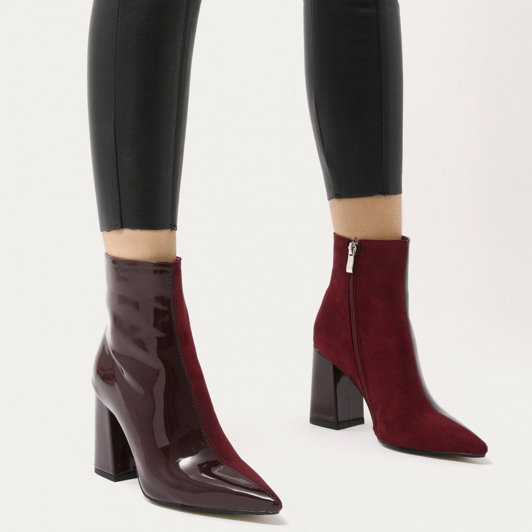 c09a35c18a6 Chaos Two-Tone Pointed Toe Ankle Boots in Black and White Patent ...