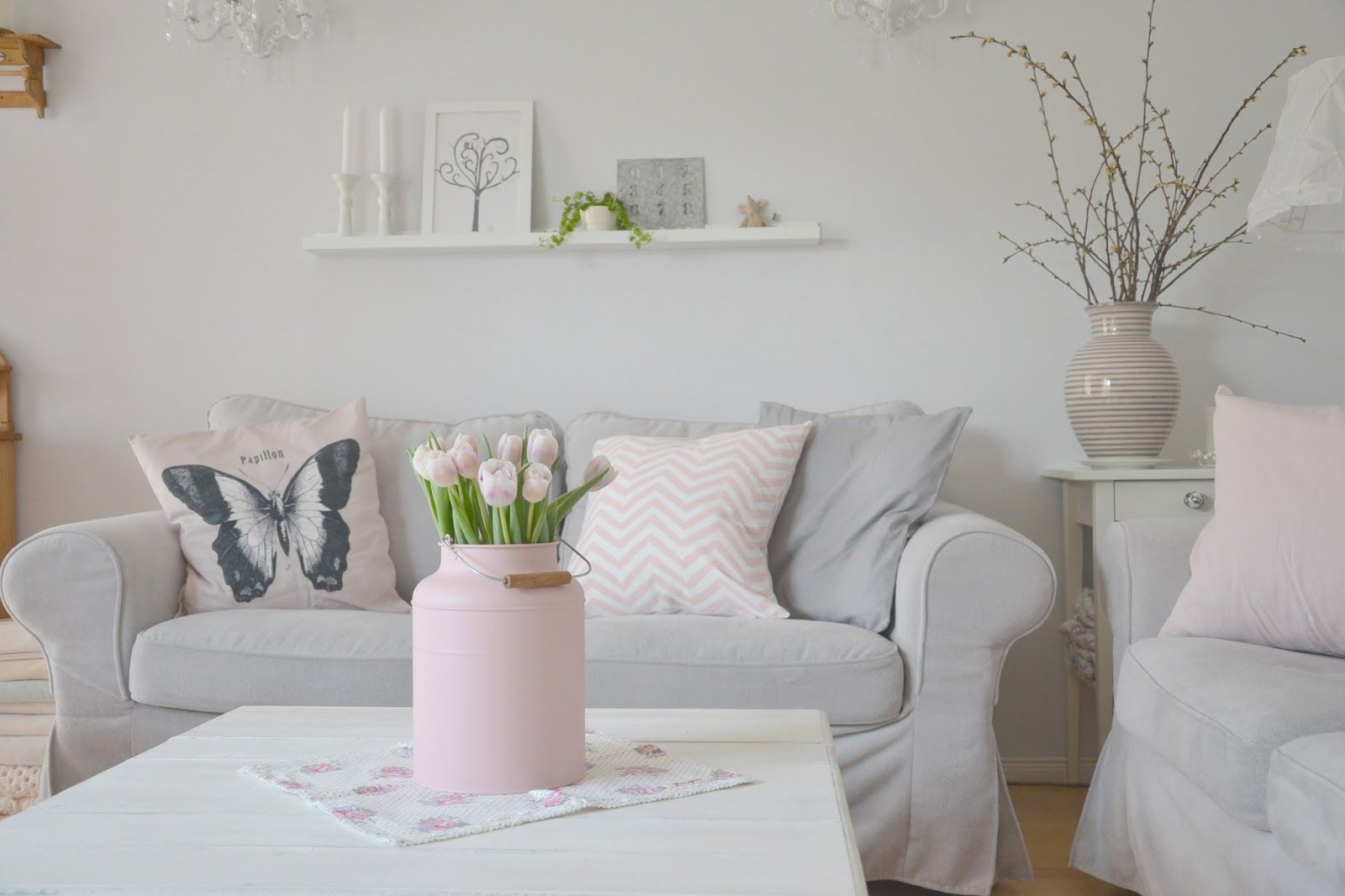 grey scandinavian living room with pastel pink - Google Search