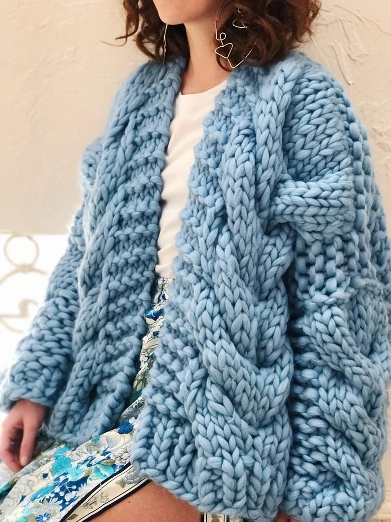 Oversized Chunky Knit Cardigan, Winter Sweater Wool Knit Kimono Bomber Jacket, Blue Cable Knit Wool Cardigan, Hand Knit Women Chunky Sweater