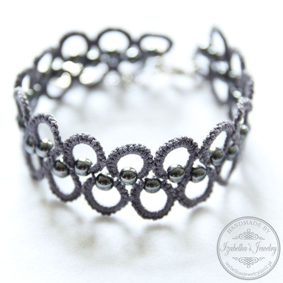 Tatted rings bracelet with beads - YOUR COLOR CHOICE | Patrones ...