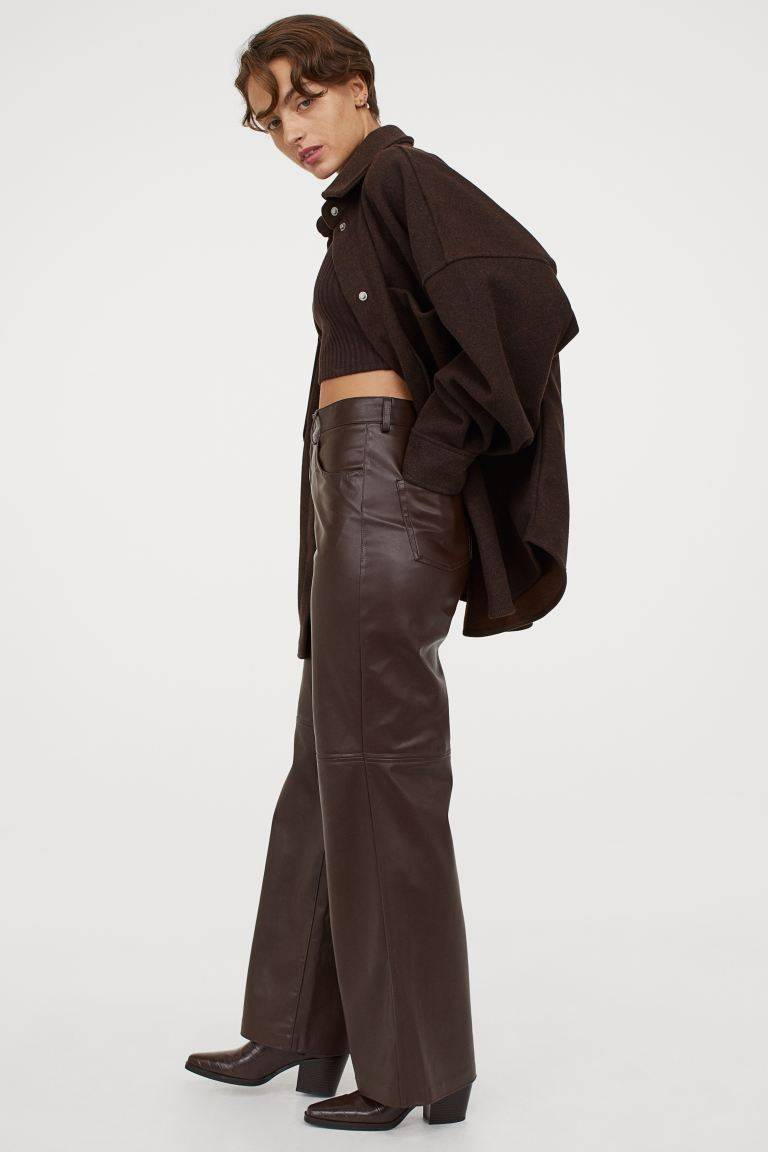 Tiktok S Coolest Stylist Told Me 6 Trends That Will Define Fashion In 2021 Faux Leather Pants Leather Trousers Brown Leather Pants