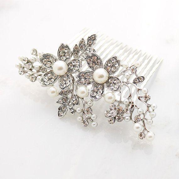 Bridal Hair Comb Wedding Accessory, Bridal Crystal Pearl Hair Accessory. Old Hollywood Great Gatsby Wedding Jewelry