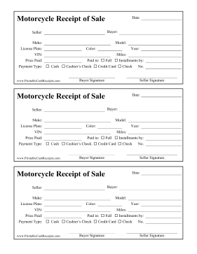 Perfect For Craigslist Sales This Printable Receipt Tracks A Motorcycle Make Model Vin And Miles As Well As Providing Room Receipt Sale Business Template
