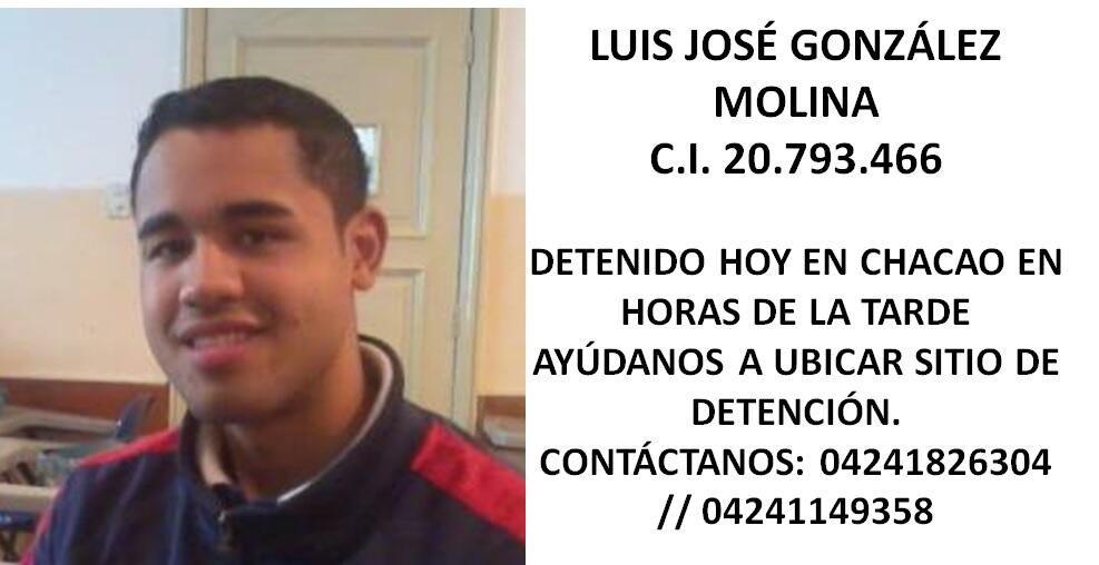 """""""@JUANJOSEMOLINA: RT """"@SoAuxiCriss: Ayudanos a ubicarlo nos informan que fue detenido el día de hoy en chacao... pic.twitter.com/rvHNgxtRIx"""""""""""