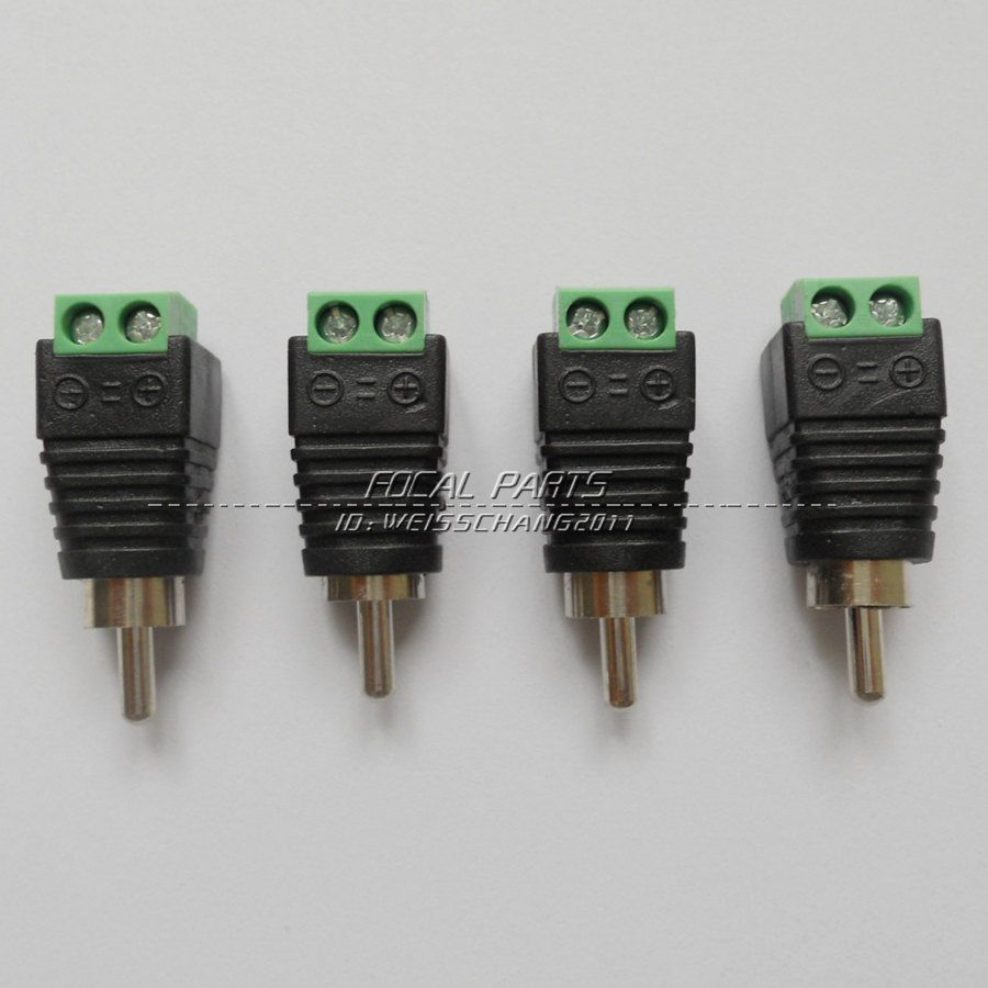 4 pcs Speaker Wire cable to Audio Male RCA Connector Adapter Jack ...