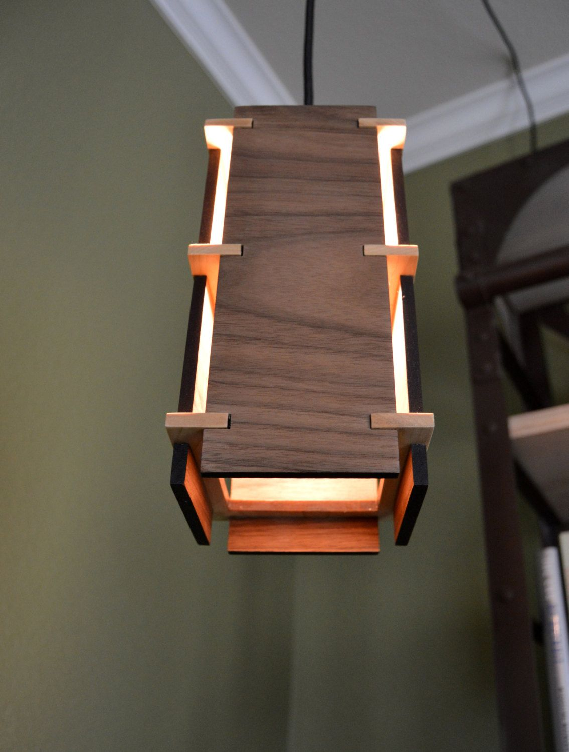 Square Wooden Pendant Light Unique LightingLighting IdeasWood