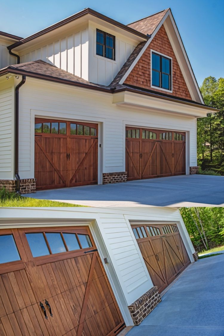 Wood Overlay Carriage House Garage Doors By C H I Overhead Doors Garage Doors Carriage House Garage Doors House Designs Exterior