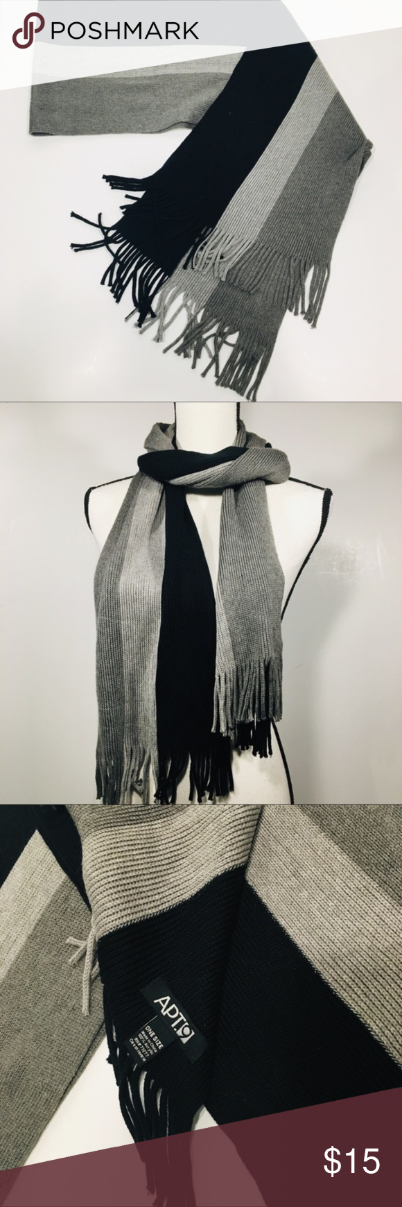 """Photo of Three town knit scarf with fringe Excellent Used Condition  64"""" x 10"""" super …"""