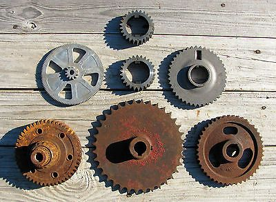 Vintage INDUSTRIAL GEAR COG SPROCKET METAL CAST IRON steampunk Antique Pulley