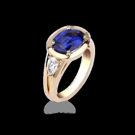 Élégante bague saphir magnifique et diamants poire Harmonie star ...