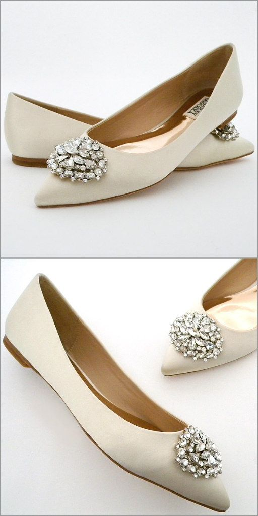 fcf4d160ab5 Ivory bridal flats by Badgley Mischka. Classic pointed toe flats with a  dazzling rhinestone ornament at the toe in classic Badgley Mischka bling  style