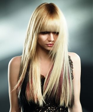 A long blonde straight coloured Rock-Chick hairstyle by Inanch ...