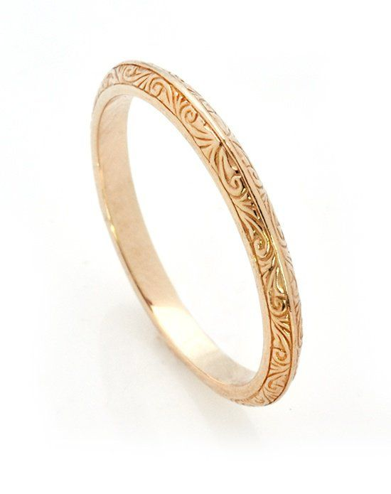 This Delicate Knife Edge Wedding Band Is Hand Engraved With A