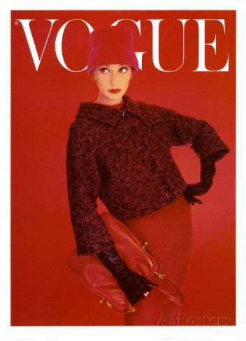 Couverture de Vogue, rose rouge, août 1956 Reproduction d'art