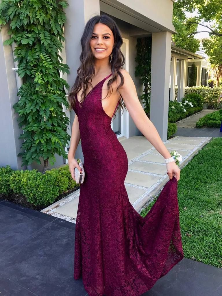 Charming red vneckline lace prom dresses mermaid lace sexy prom