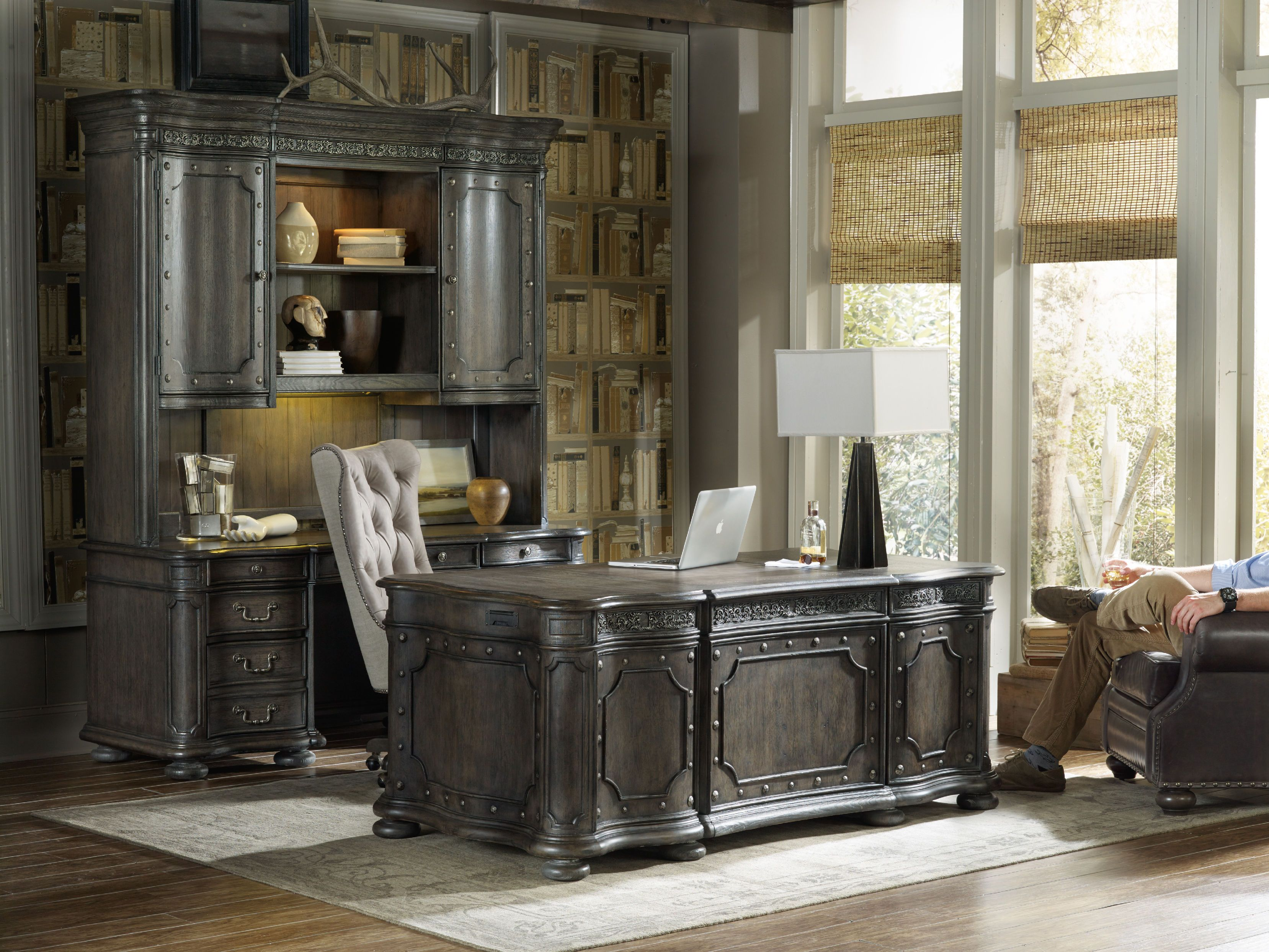 From The Generously Scaled Executive Desk With Carved Accents To The  Computer Credenza And Hutch To The ...