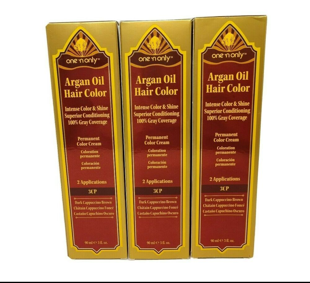 Pack Of 3 One N Only Argan Oil Salon Hair Color Dye 3cp Dark Cappuccino Brown Onenonly In 2020 Salon Hair Color Argan Hair Hair Dye Colors