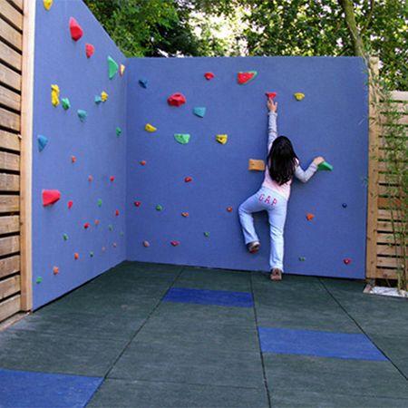 Home Dzine Garden Disguise Or Cover Vibracrete Or Precast Concrete Walls Backyard Play Spaces Kid Friendly Backyard Climbing Wall Kids