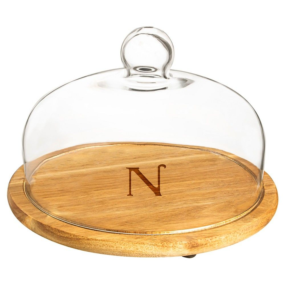 Cathy's Concepts Personalized Acacia Wood Tray with Glass Dome - N