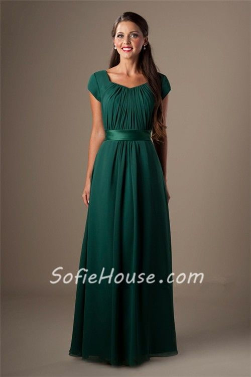 Sheath Cap Sleeved Dark Green Chiffon Ruched Modest Long Bridesmaid ...