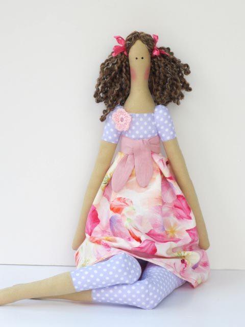 Tilda doll fabric doll lilac pink cloth doll by HappyDollsByLesya