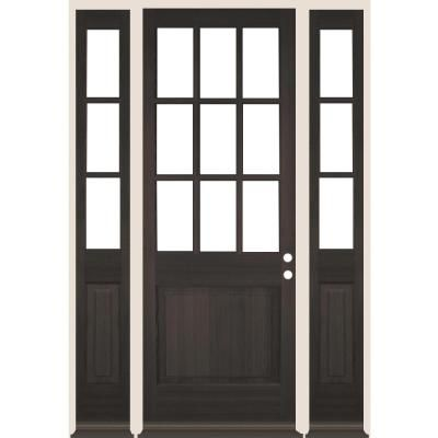 Krosswood Doors 36 In X 96 In 9 Lite With Beveled Glass Black Stain Left Hand Douglas Fir Prehung Front Door Double Sidelite In 2020 Beveled Glass Red Mahogany Stain Double Front Doors