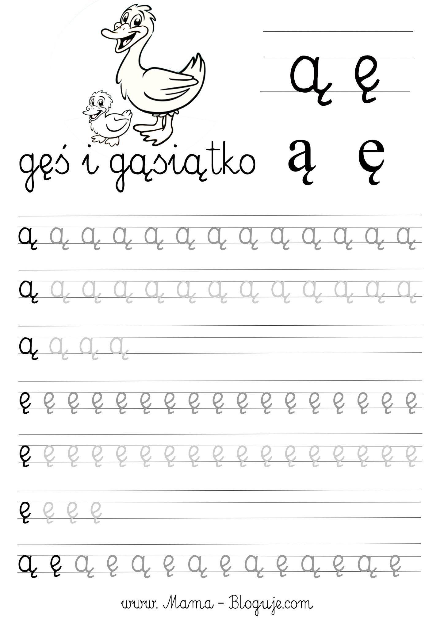Szablony Do Nauki Polskich Literek Karty Pracy Przedszkolaka Mama Bloguje Handwritten Letters Montessori Materials Toddler Learning