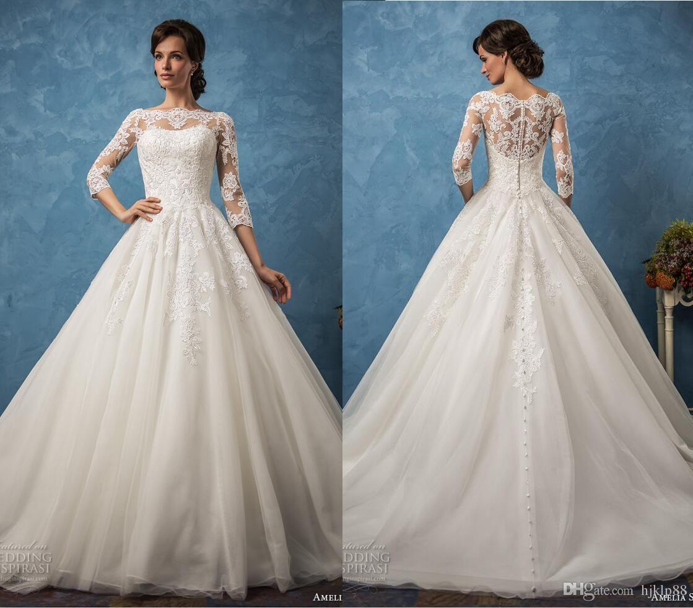 New Arrival Amelia Sposa 2017 Lace Wedding Dresses Illusion Long ...