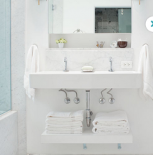Add A Floating Shelf Under A Wall Mounted Sink To Keep Towels Close