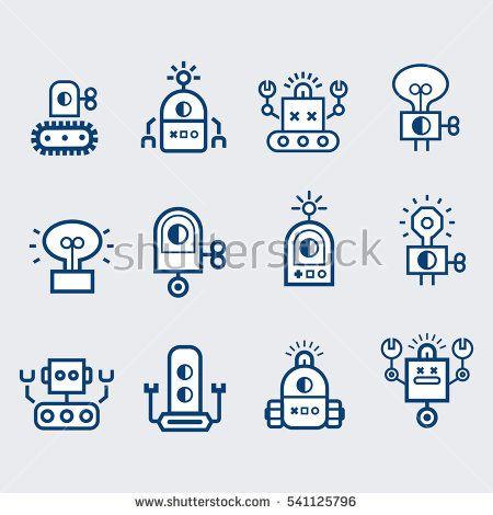 Robot  icons set.  Bot, symbols collection. Electromechanical cartoon machine, isolated vector illustration. Linear design, editable stroke.