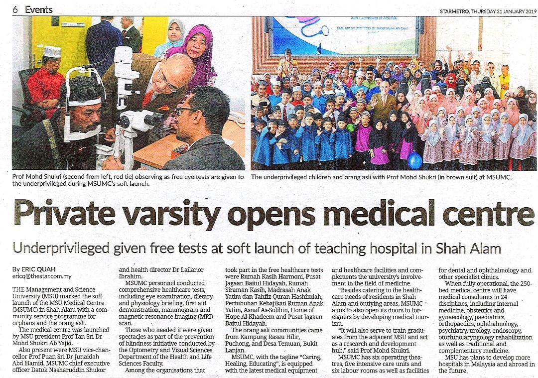 MSU Shah Alam marked the soft launch of the MSU Medical