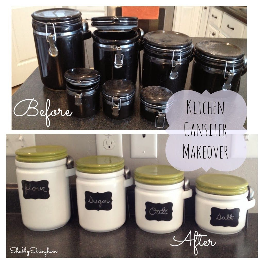 kitchen canister makeover by shabby stringham crafty. Black Bedroom Furniture Sets. Home Design Ideas