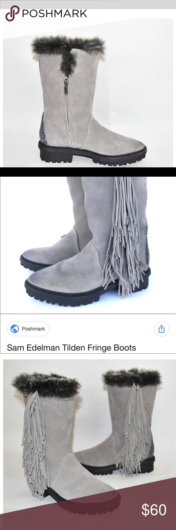 b0ed2c080a7f8d Sam Edelman Tilden Faux Fur Fringe Boot Suede NWOT swish of fringe