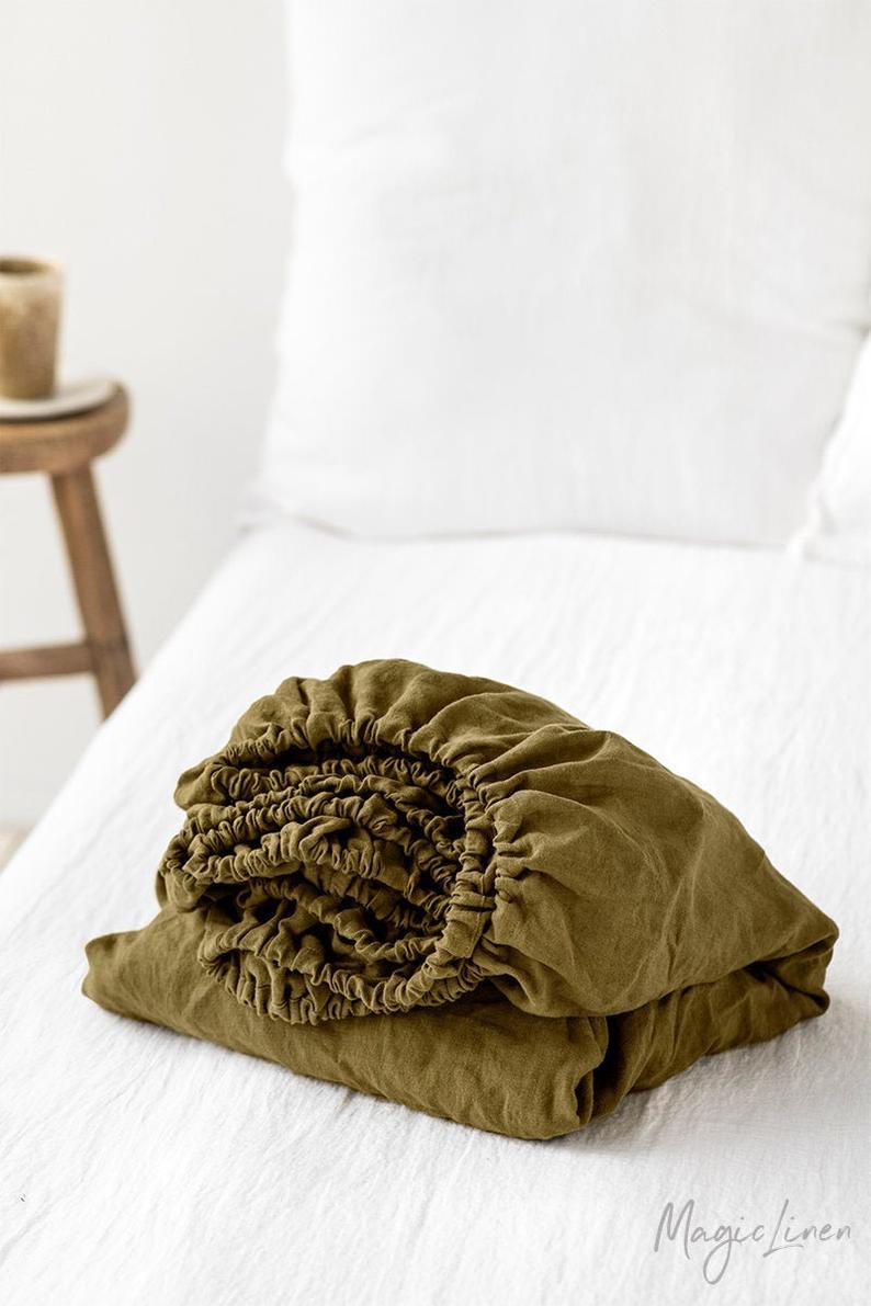 Drap De Lin Equipe En Vert Olive King Queen Draps De Lit Etsy Linen Duvet Covers Custom Bed Linen Duvet