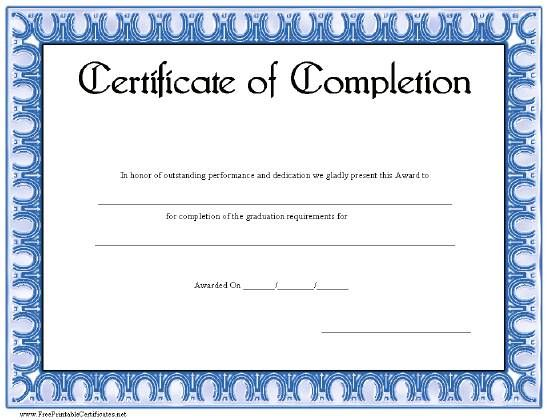A basic certificate of achievement with a decorative blue border - certificate of construction completion