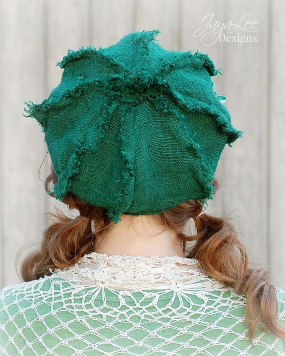 Oversized Shabby Green Newsboy Hat by GreenTrunkDesigns on