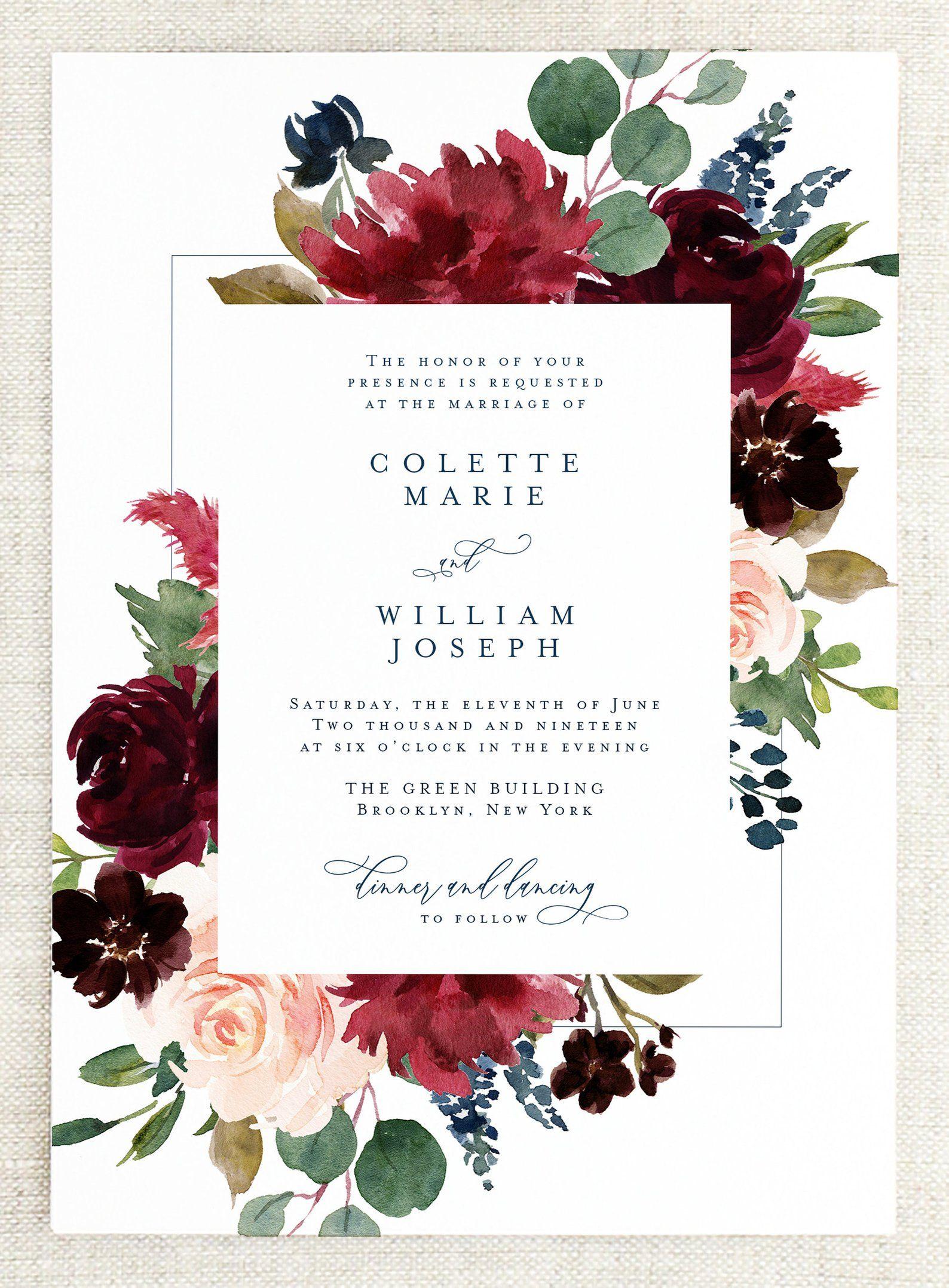 Printed Floral Wedding Invitation Set Fall Wedding Invites Etsy Floral Wedding Invitations Fall Wedding Invitations Wedding Invitation Sets