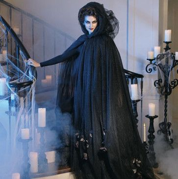Black Tulle Cloak with Dead Roses Halloween Costume - Halloween
