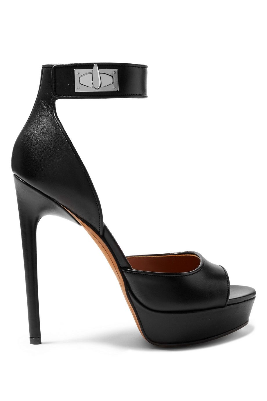 5f9154f5acf8 GIVENCHY Shark Lock platform sandals in black leather