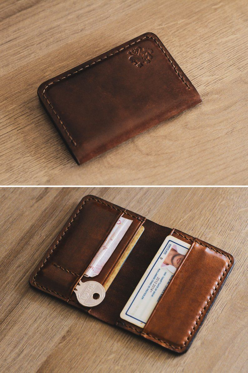 Personalized Vegetable Tanned Leather Bifold Wallet Leather Wallet Mens Card Holder Leather Leather Bifold Wallet