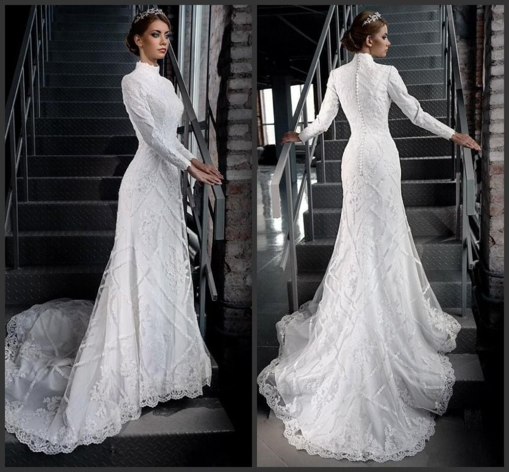 Click to buy ucuc wedding dresses mermaid long sleeve high neck