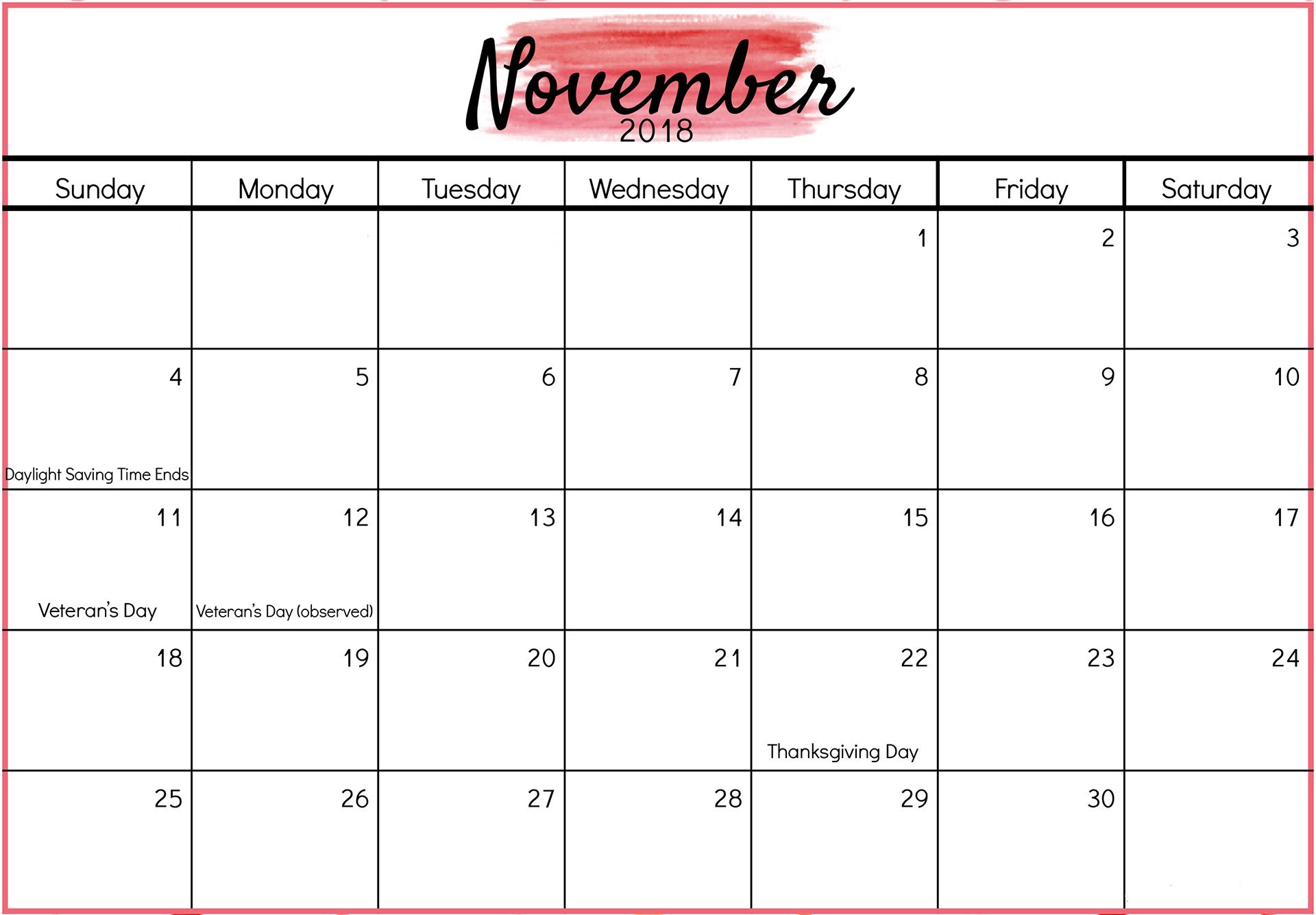 november 2018 printable calendar with holidays