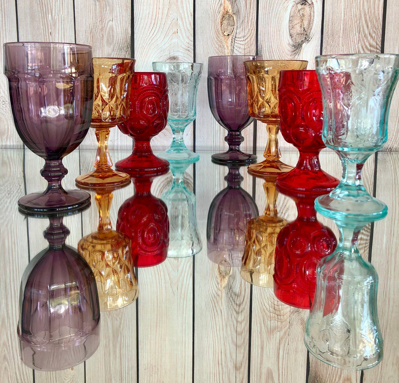Set Of 8 Mismatched Vintage Glassware Mixed Colored Water Goblets Boho Wedding Vintage Goblets Glasses In 2020 Vintage Goblets Vintage Glassware Glassware