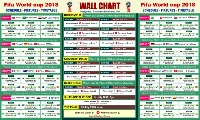 Printable Fifa World Cup 2018 Schedule In Eye Catche Design World Cup Fixtures World Cup Match World Cup 2018