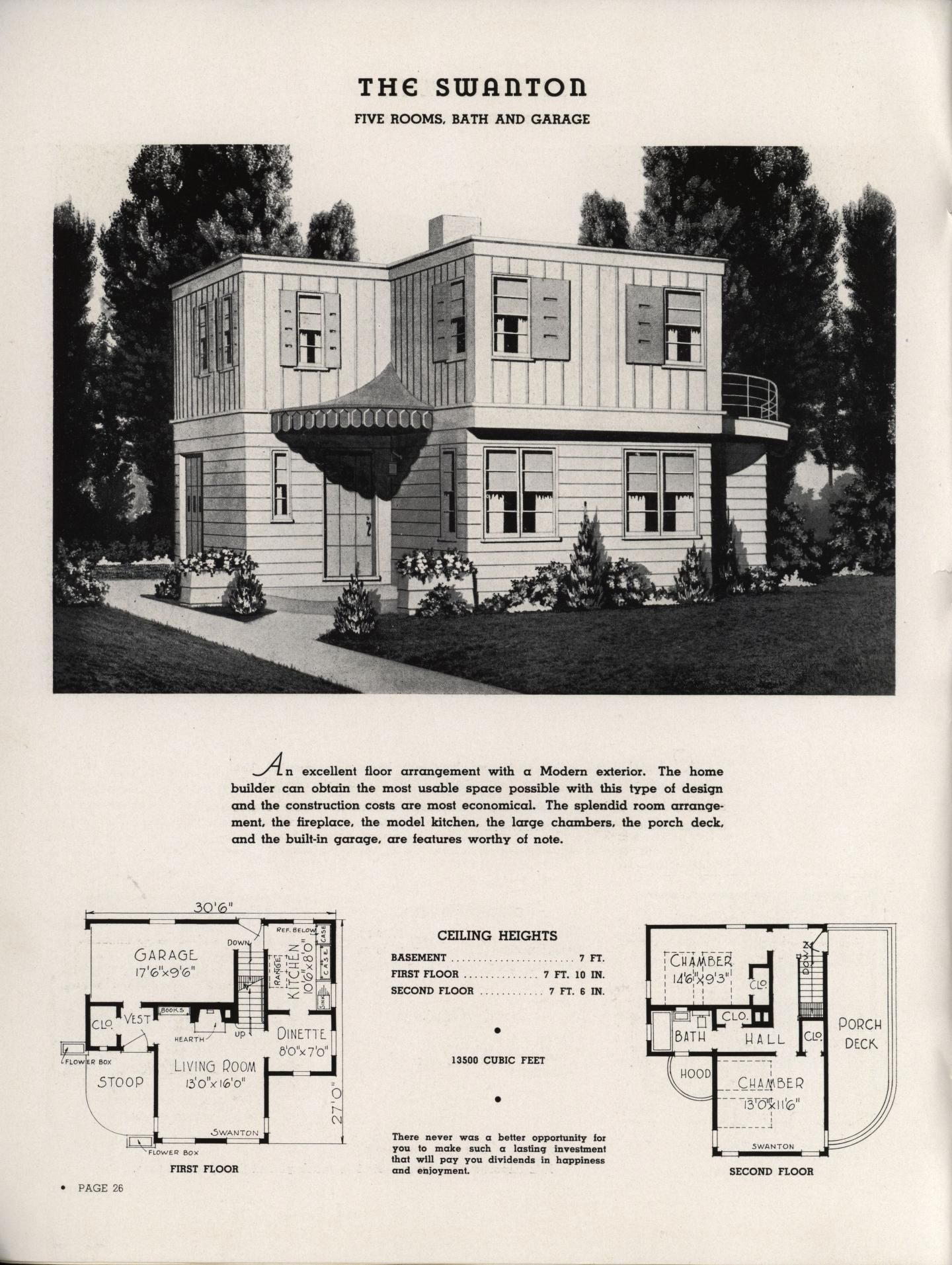 Select Homes Of Moderate Cost Vintage House Plans House Plans Art Deco Home